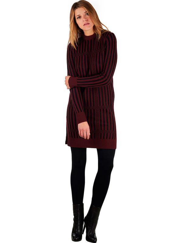 new style 78738 c6d49 Vestito nero e bordeaux di lana merino misto cashmere fatto ...