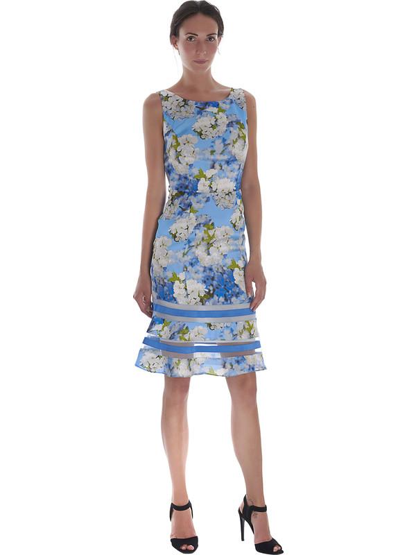 8924408057c1 Abito donna da cerimonia corto floreale azzurro Pastore Couture