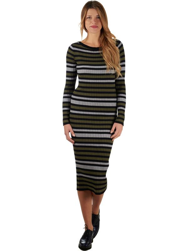 8f561bf9920c Vestito da donna lungo di pura lana con disegno a righe colorato Jucca