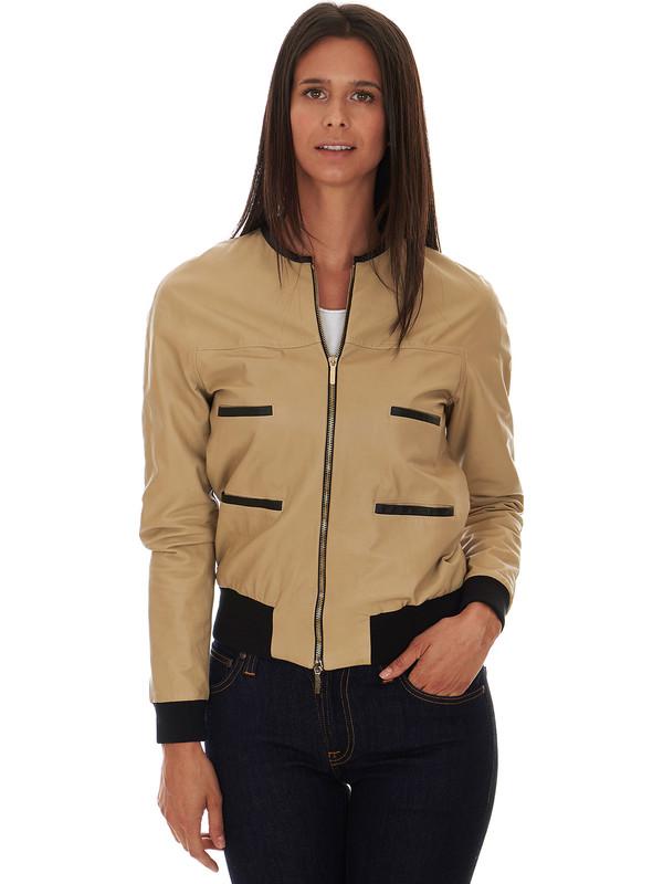 Women S Bomber Jacket In Beige Leather Solleciti