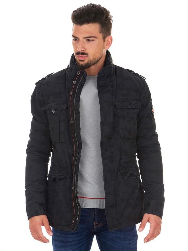 Superdry Military jacket, black color, camouflage