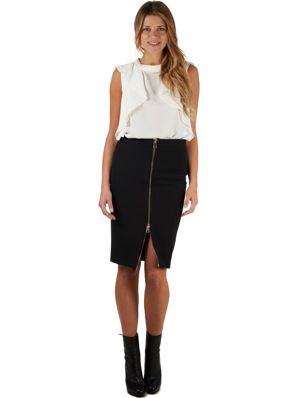 Tight black knee-length skirt with golden zipper G.SEL