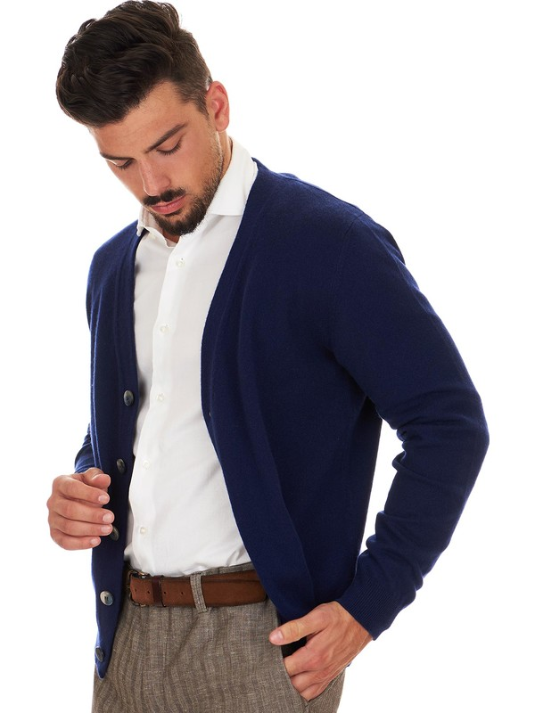 more photos 06683 6f53f Blue cashmere cardigan for men - Il Borgo Cashmere