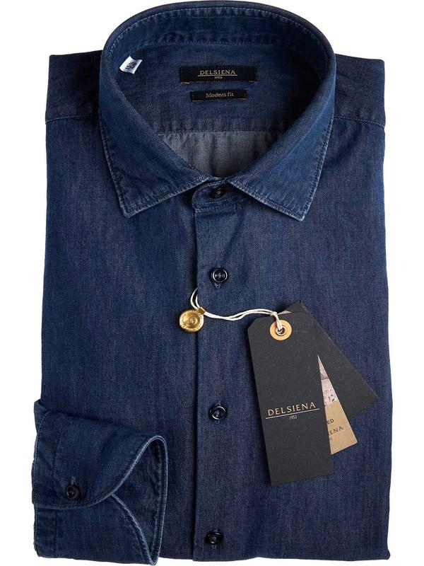 Chemise en denim pour homme delsiena 100 cotton for Semi spread collar shirt