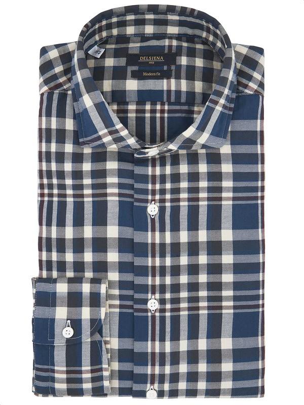 size 40 730e4 1f471 Camicia a quadri grandi blu e grigia - Del Siena
