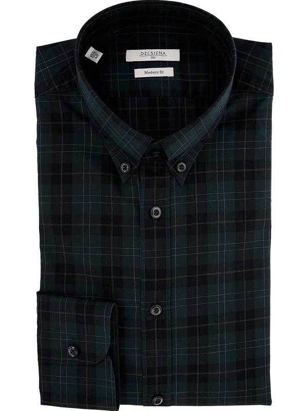 online store bd59b 35cf3 Camicia Delsiena color verde petrolio a scacchi e collo ...