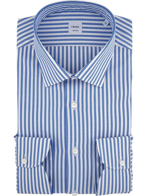 premium selection 720f1 f5f2b Càrrel - Camicia bianca e azzurra a righe bastoncino collo ...