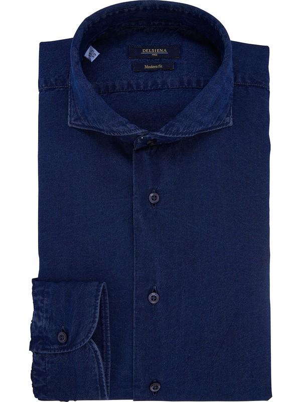 sports shoes e2ed8 e7534 Camicia uomo blu tessuto denim collo francese DelSiena