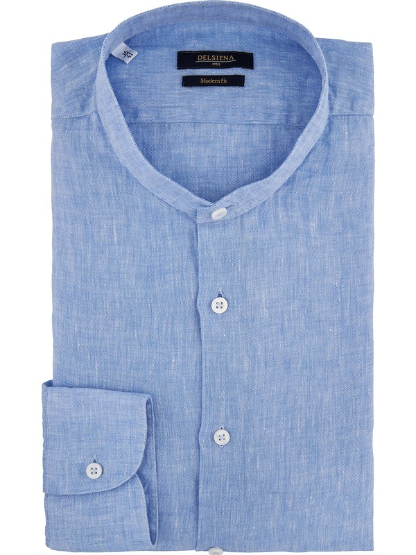 a7d71743ad Camicia di lino celeste collo coreano - Delsiena