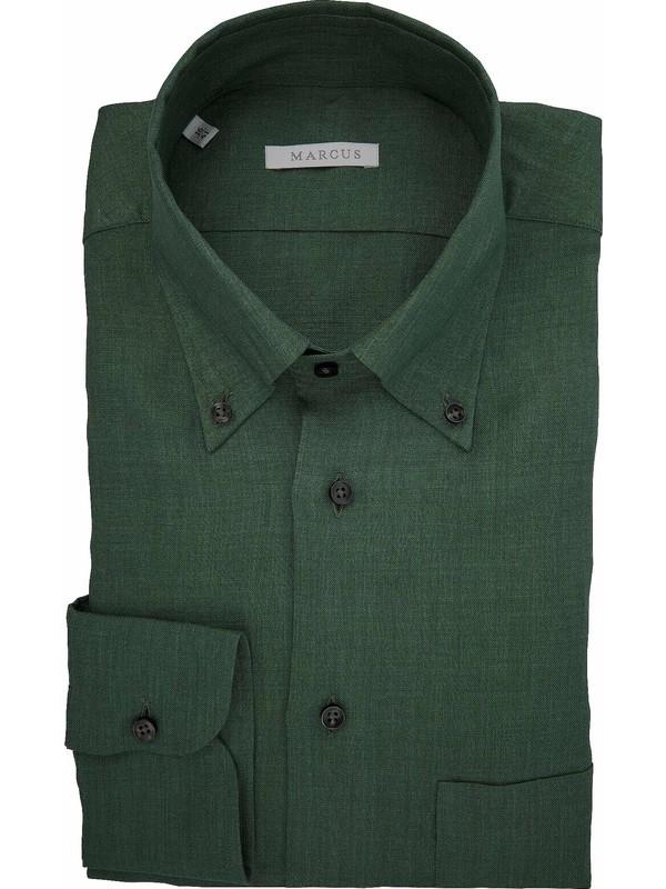 new product ba51b ba435 Camicia verde di lino con taschino e collo button down - Marcus