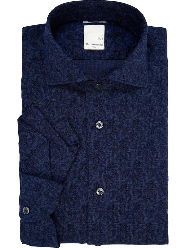 grande vendita 651c5 fa804 Camicia damascata blu con fazzoletto da taschino incluso The ...