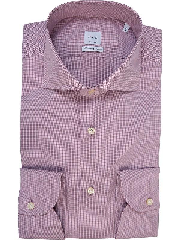 897ab93ae123f6 Camicia uomo rosa Càrrel con decorazione Dobby bianca