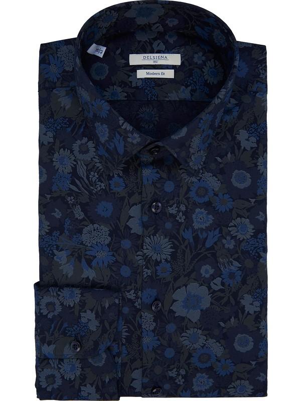 size 40 7ea61 1f656 Camicia Jacquard a fiori blu da uomo con collo italiano Delsiena