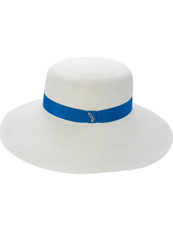 Cappello a tesa larga bianco con nastro azzurro donna Doria 1905 ec86e6a1ca62