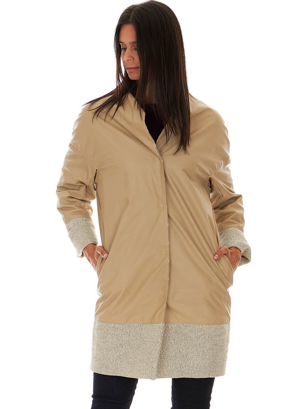 buy popular f3fd1 c35bb Cappotto donna pelle beige - Solleciti
