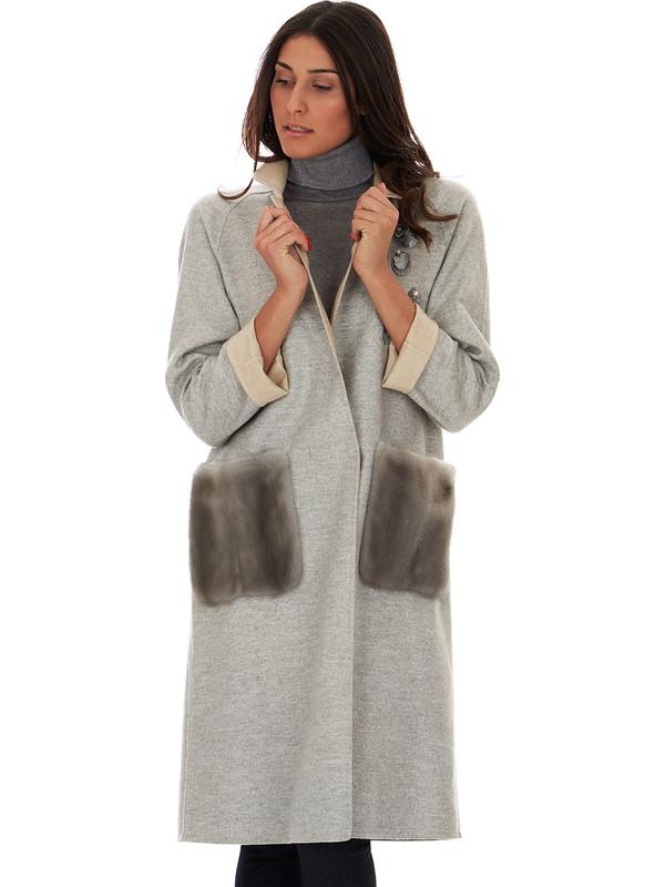 buy online 12d6d 00176 Cappotto donna grigio di cashmere con visone - Solleciti