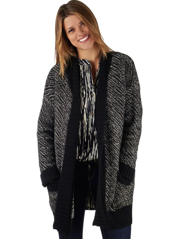 6ca9448c42 Cardigan di lana pesante grigio e nero con maniche lunghe G.sel