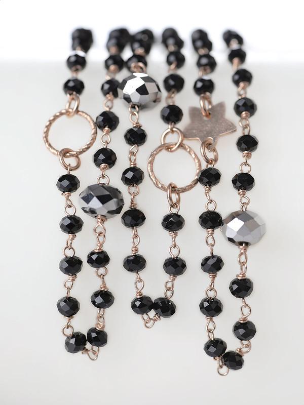 abbastanza Collana con pietre di cristallo nere e catena in argento rosé FB08