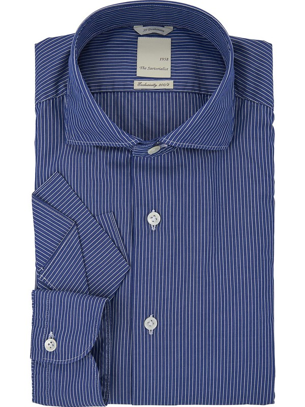 Italien Sartorialist Popeline Grand Col Rayée The Chemise fy6vbgY7