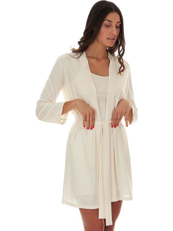 Amitié - Lightweight cream cotton jersey dressing gown