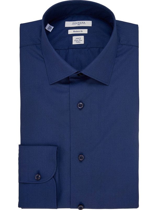 b9c03390519c Dark blue poplin shirt in double twisted 200/2 cotton
