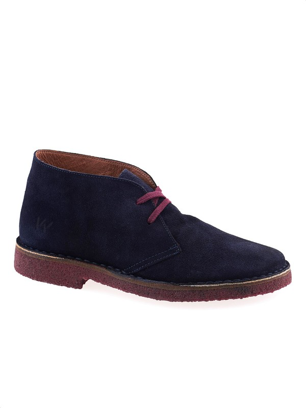 Blue desert boots with colored laces