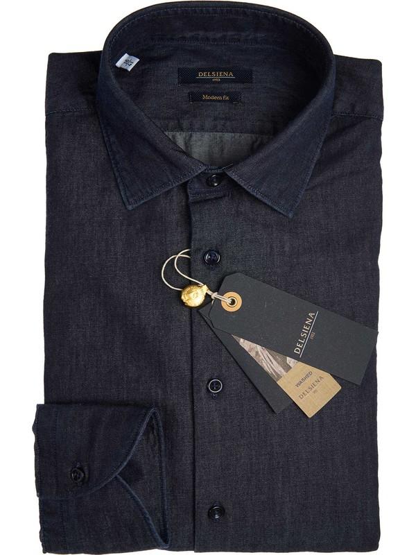 Shirt in dark denim elegant cut delsiena for Semi spread collar shirt