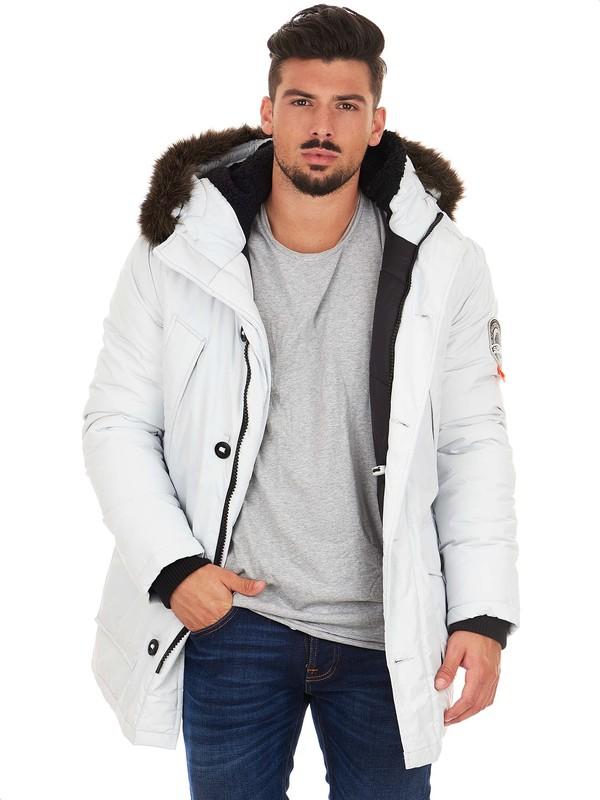 Parka bianco da uomo con cappuccio e pelliccia sintetica 711b39b6670e