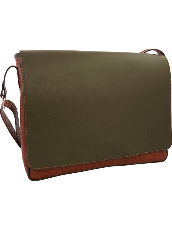 4b66352702287 Sac besace homme vert militaire et brun clair