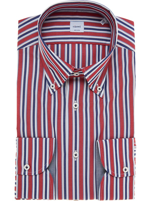Striped red blue white c rrel shirt with button down collar for Red and white button down shirt