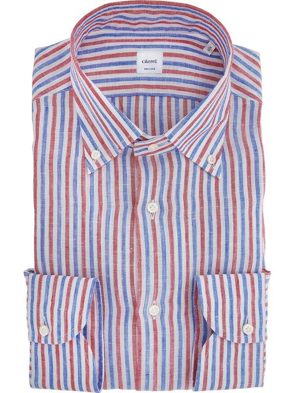 Man's striped linen Càrrel shirt with button-down collar