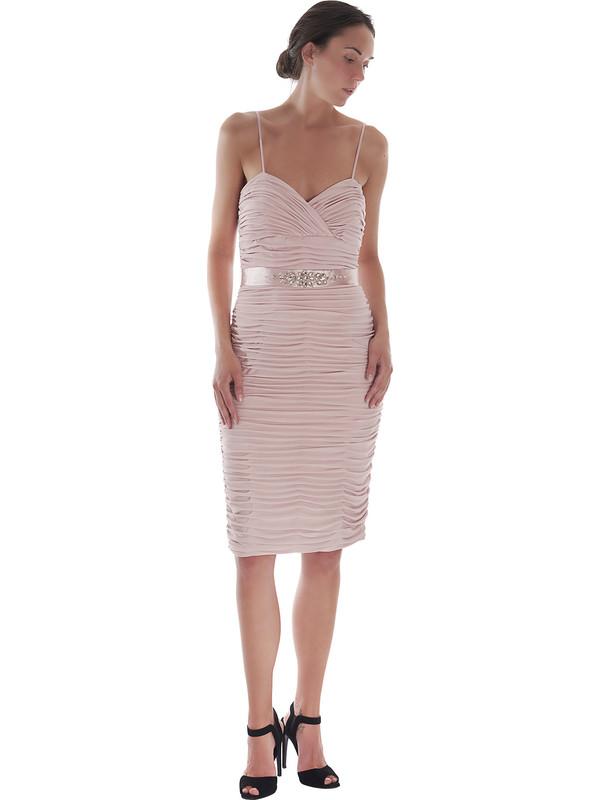 Super Tubino cerimonia Pastore Couture rosa antico con scollo a cuore SJ05