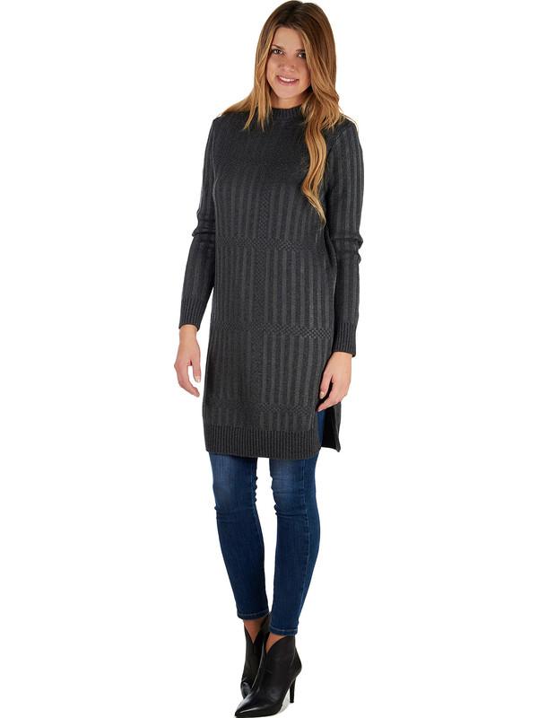 sports shoes d35e1 2198b Abito donna grigio in misto di lana merinos e cashmere ...