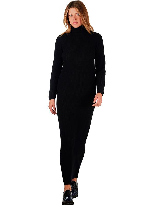 separation shoes c0325 b6c67 Vestito lungo di lana da donna colore nero collo alto ...