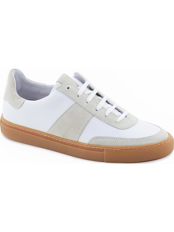 White leather sneakers and rubber sole