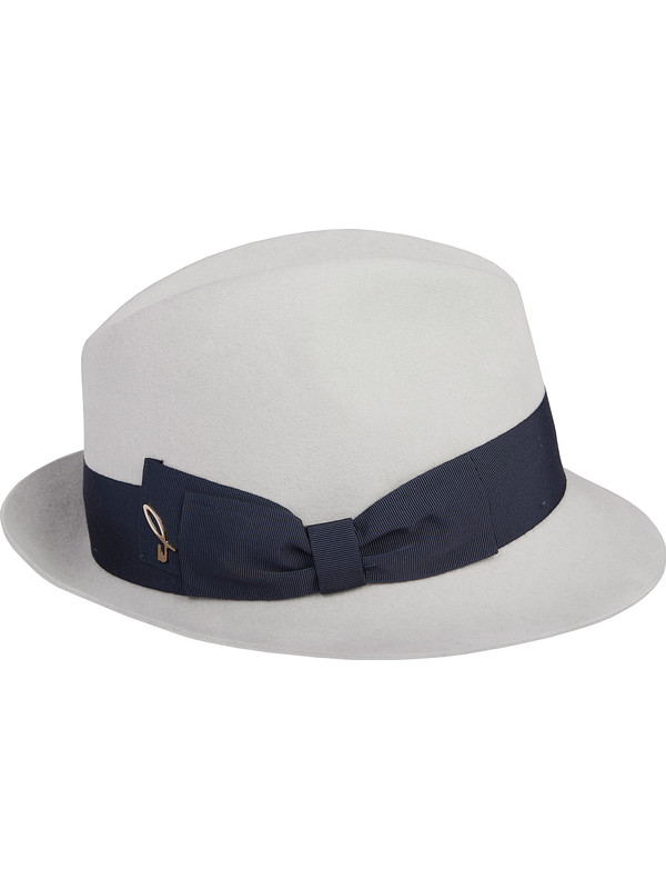 White Trilby Hat For Woman Made Of 100 Felt-5009